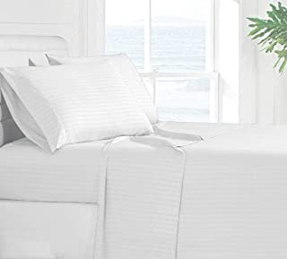 Xuvet Oversized 100% Egyptain Cotton 3Pc Flat Sheets - 132 Inches x 110 Inches (White Stripe)
