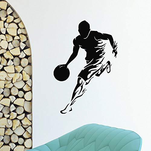 Wandtattoo Gym Sport Basketball Player Wandaufkleber Abnehmbare Gym Stil Wandkunst Wandbild Basketball Design Jungen Room Decor 42x61 cm