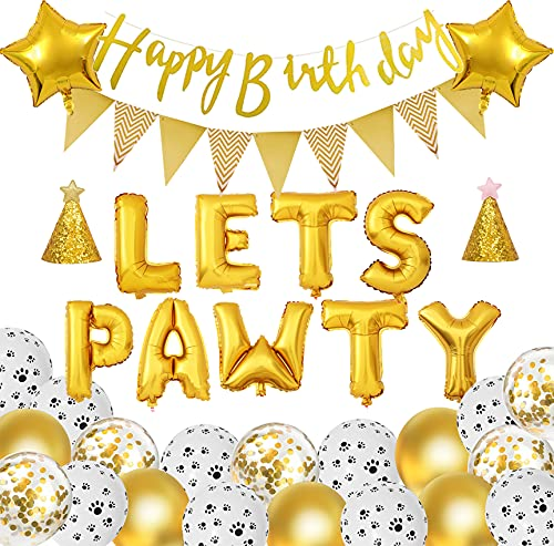 Dog Birthday Party Supplies - Lets Pawty Balloons Dog Cat Hats Happy Birthday Banner Triangle Flag Dog Paw Print Balloons Gold Confetti Foil Balloons for Dog Birthday Decorations