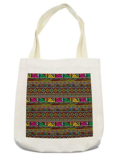 Ambesonne African Tote Bag, Ancestral Borders in Lively Colors Geometric Indigenous Culture Art Design, Cloth Linen Reusable Bag for Shopping Books Beach and More, 16.5' X 14', Cream