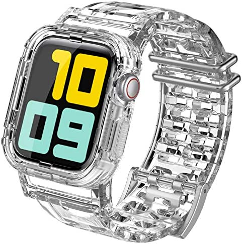 AhaStyle Crystal Clear iWatch Band Strap with Rugged Bumper Case Accessories Compatible with product image