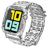 AhaStyle Transparent iWatch Band Strap with Rugged Bumper Case Compatible with Apple Watch 42mm 44mm, iWatch Series 5/4/3/2/1(42mm/44mm))