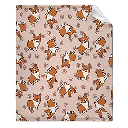 ARTBLANKET Corgi Dogs Paw Print Blanket for Fall Winter Spring All Season Warm Fuzzy 50x40 in for Small Microplush Lightweight Thermal Fleece Summer Autumn Blankets for Couch Bed Sofa