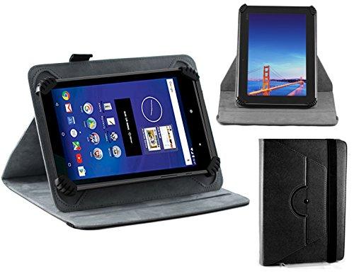 Navitech echte schwarzes 7 Zoll bycast Leder flip Trage Tasche/Cover im Buch Stil für das MEDION eBook Reader E6912