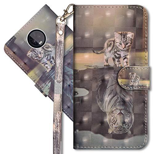 MRSTER Moto Z3 Play Handytasche, Leder Schutzhülle Brieftasche Hülle Flip Hülle 3D Muster Cover mit Kartenfach Magnet Tasche Handyhüllen für Motorola Moto Z3 Play. YX 3D - Cat Tiger