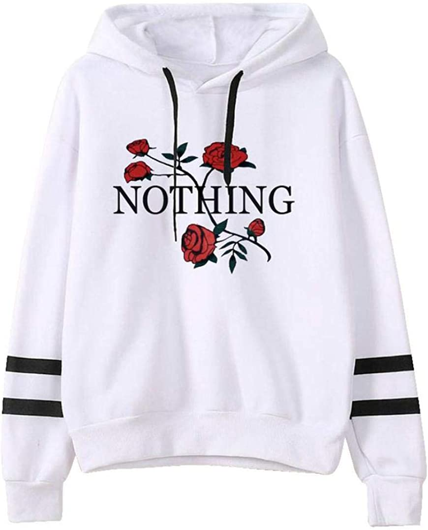 Fanteecy Womens Letter Rose Print Casual Long Sleeve Hooded Sweatshirts Sports Drawstring Hoodies Pullover Tops Blouse