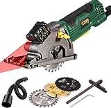 """Mini Circular Saw with Laser, TECCPO 4.8Amp 3-3/8"""" Compact Circular Saw, 3700 RPM Fine Copper..."""