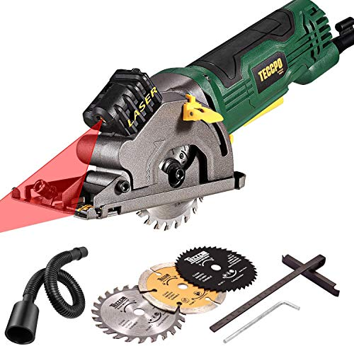 TECCPO 3700 RPM Fine Copper Motor, Scale Ruler Compact Laser Mini Circular Saw with 3 Blades for Wood, Tile, Soft...