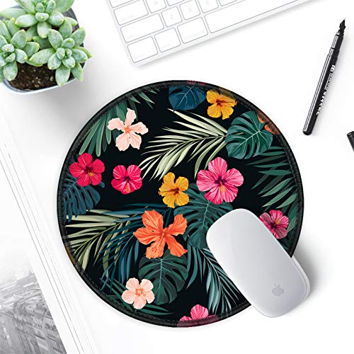 ITNRSIIET [20% Larger] Mouse Pad with Stitched Edge Premium-Textured Mouse Mat Waterproof Non-Slip Rubber Base Round Mousepad for Laptop PC Office 8.7×8.7×0.12 inches, Beautiful Floral Photo #5