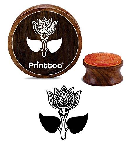 Printtoo Lotus Flower Design Holz Stempel Scrap-Buchung Braun Runde Block-3 Zoll