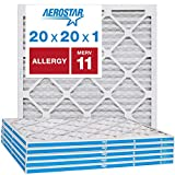 Aerostar Allergen & Pet Dander 20x20x1 MERV 11 Pleated Air Filter, Made in the USA, 6-Pack