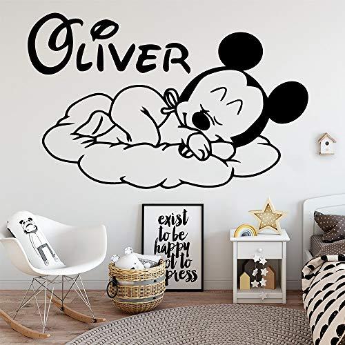 Tianpengyuanshuai aangepaste naam muis vinyl muursticker decoratie kamer kinderen baby kamer decoratie sticker