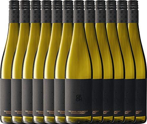 VINELLO 12er Weinpaket Weißwein - Grohsartig Weißburgunder Chardonnay 2019 - Groh mit Weinausgießer | trockener Weißwein | deutscher Sommerwein aus Rheinhessen | 12 x 0,75 Liter
