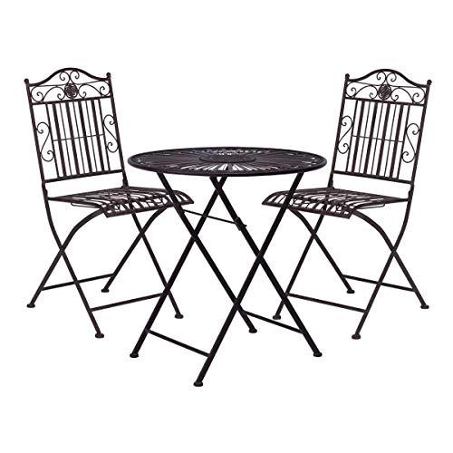 BUTLERS Terrace Hill Balkonset 3 teilig aus Metall - Klappbarer Bistrotisch und 2 Stühle - Dunkle Gartenmöbel aus Eisen