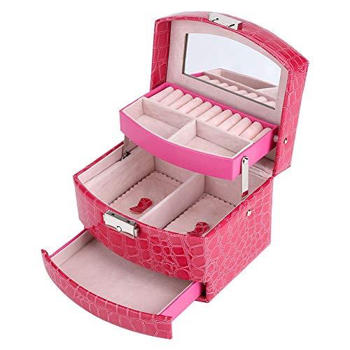 Caja de Joyería de 3 Capas con Espejo y Mango Caja Joyero para Collar Anillos Collar Broches Pulsera(Rosa rojo)