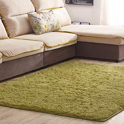 Satisinside - Alfombra de área mullida ultra suave con parte trasera antideslizante, alfombra de felpa para el hogar, sala de estar, recámara, habitación de los niños y cuarto de bebé, 120x160cm, Verde claro