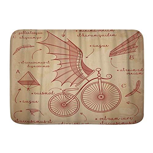 KOSALAER Alfombra de Baño para, Diseños de bocetos de Da Vinci para Bicicletas Retro Flying Machines, Alfombrillas de baño Antideslizante de Espuma de Memoria Suave, 75CM x 45CM