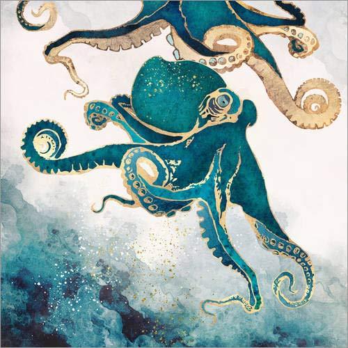 Poster 40 x 40 cm: Octopus, Unterwassertraum V von SpaceFrog Designs - hochwertiger Kunstdruck, neues Kunstposter