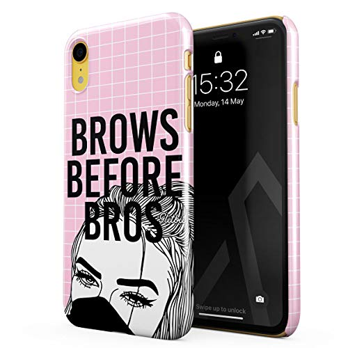 Glitbit Compatible with iPhone Xr Case Glamourholic Brows Before Bros Makeup Junkie Artist Sassy Slay Girl for Girls Tumblr s MUA Thin Design Durable Hard Shell Plastic Protective Case Cover