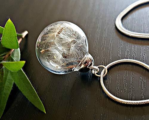 Regalo del dia de la madre Collar clásico del diente de león Cadena de plata esterlina Caja de regalo colgante de flores regalo único para mujeres