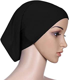 Bomcomi Women Headscarf Elastic Sweat Absorbent Cotton Muslim scarf white Muslim Underscarf Hijab Tube Cap black