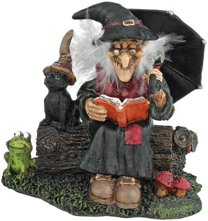 Design Toscano QL30604 Cauldron of Beauty Bewitching Witch Halloween Decor Figurine Statue, 5 Inch, Polyresin, Full Color