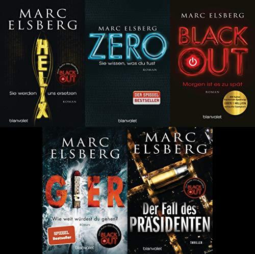 5 Thriller im Set Helix/ Zero/ Blackout/ Gier/ Der Fall des Präsidenten + 1 exklusives Postkartenset