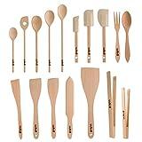 Uulki Set di utensili da cucina in legno (17 pz) | Cucchiai ecologici, spatole per aliment...
