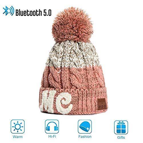 Preisvergleich Produktbild V5.0 Bluetooth Beanie Mütze Damen Herren, Wireless Bluetooth Strickmütze Musik Braid Cap Wintermütze Warme Hüte mit Stereo-Lautsprecher Winddicht und Warm für Sportarten,  Skifahren,  Laufen,  Skaten
