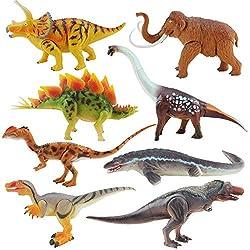 2. Boley 8″ Articulated Realistic Dinosaur Action Figures (8 pieces)