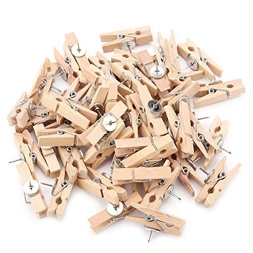 50pcs Clip de alfiler con clips de madera Tachuelas Tachuelas Chinchetas Pinzas de madera Pinzas para artesanía Clips para tableros de corcho Notas Fotos