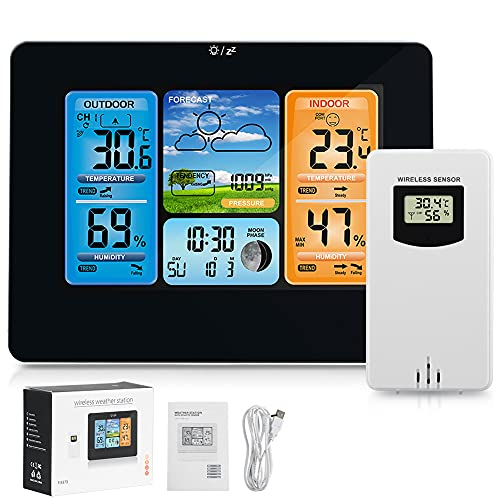 Scientific Weather Station with Wireless Sensor,Indoor Outdoor Temperature&Humidity Gauge,Color LCD Weather Forecast Station Barometer,Moon Phase,Air Pressure,Alarm Clock,Adjustable Backlight (Black)