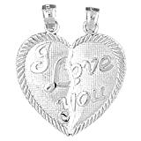 Jewels Obsession 18K I Love You Breakable Heart Pendant | 18K White Gold I Love You Breakable Heart Pendant, Made in USA