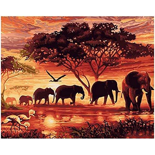 MXJSUA 5D DIY Diamant Malen nach Zahlen Kit Fulll Runde Dril Perlen Bild Liefert Kunsthandwerk Wandaufkleber Dekor Elefanten 30x40 cm