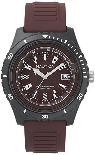 Nautica Herren Analog Quarz Uhr mit Silikon Armband NAPIBZ010