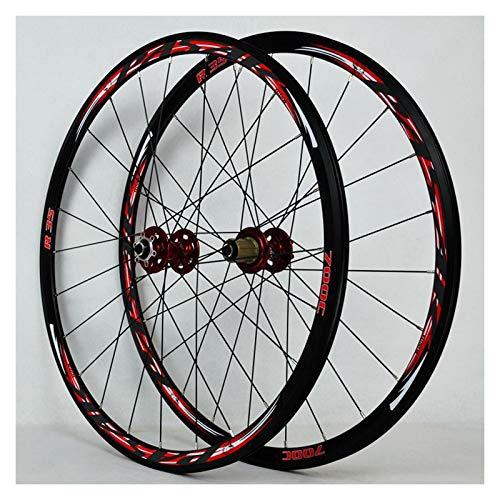 ZFF 700C Road Bike Wheelset Cyclocross Disc Brake Wheel V/C Brake Double Wall Rim Quick Release 7/8/9/10/11 Speed Flywheel 1700g (Color : Red)