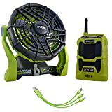 Ryobi P3320 18-Volt ONE+ Hybrid Portable Fan Bundle with P742 Compact Bluetooth Radio and Buho USB Charging Cable (Bare Tool Items)