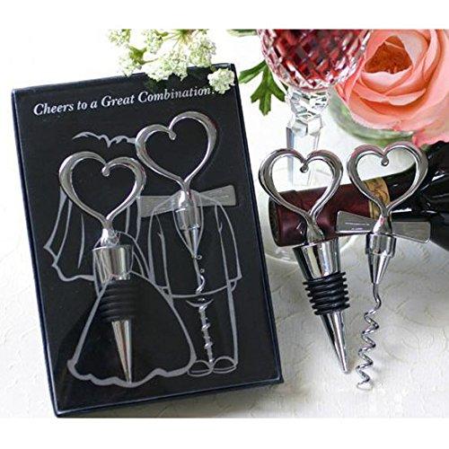 Demiawaking, set di apribottiglie e tappo per bottiglie di vino 2 in 1, a forma di cuore, decorazione per matrimoni