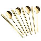 Buyer Star スプーン 箸 セット 4名用 カトラリーセット 韓国食器 ゴールド 18/8 ステンレス鋼製 チタン仕上げ 食洗機対応 洗いやすい …
