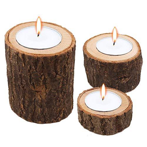 3Pcs Wooden Candle Holder Einfache Teelicht Chamberstick für rustikale Hochzeit Geburtstag Urlaub