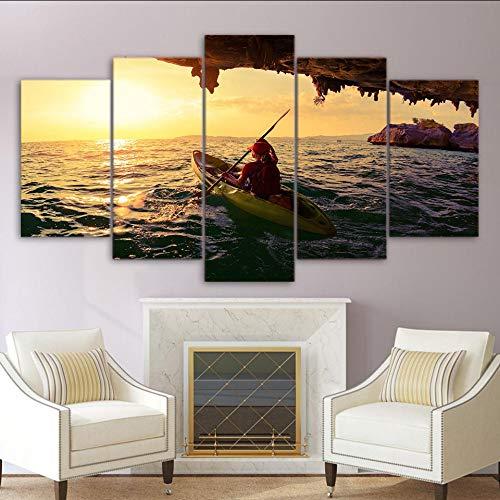 Qthxqa Decoración Para El Hogar Sala De Estar Fotos De Pared Hd Impreso 5 Panel Kayak Boat Girl Sailing Art Pintura Modular Canvas Poster Marco-40Cmx60/80/100Cm