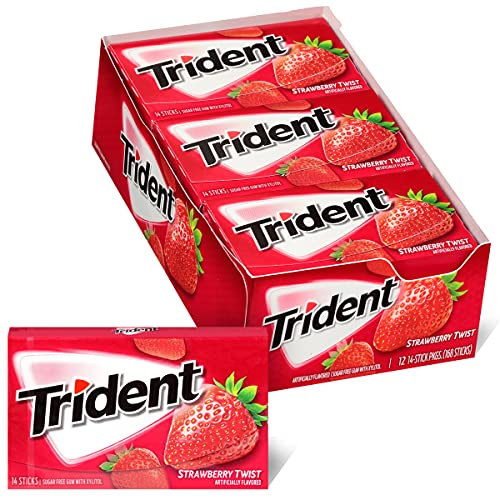 Trident Sugar Free Gum Packs of 14 Total Pieces, Strawberry Twist, 168 Count, (Pack of 12)