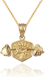 10K Yellow Gold Hand Weightlifting Dumbbell Pendant Necklace