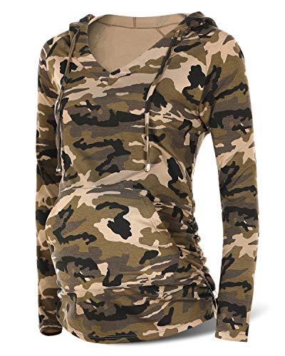 SUNNYBUY Women's Maternity Sweatshirt Hoodie Long Sleeve Maternity shirt with Pocket Camo-XL