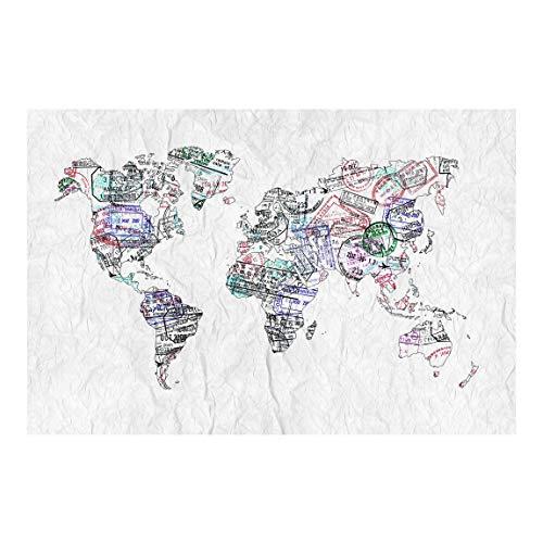 Vliestapete Reisepass Stempel Weltkarte, HxB: 190cm x 288cm