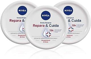 NIVEA Repara & Cuida Crema Corporal en pack de 3 (3 x 300 ml) 72 horas alivio para el cuidado de la piel muy seca crema ...