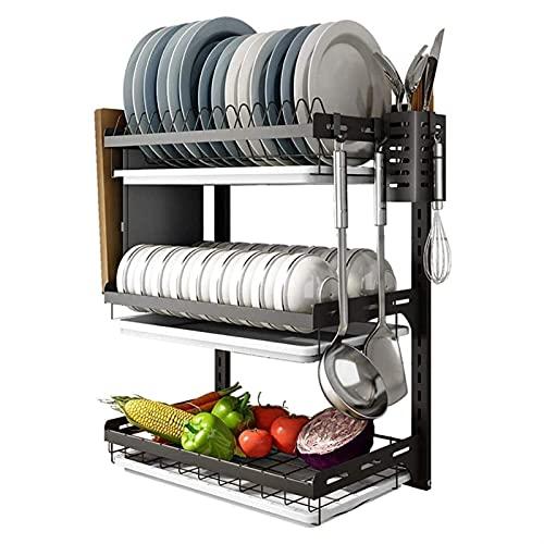 ZLQBHJ Tallado de cocina de cocina de pared, caja de almacenamiento de vajilla para el hogar de acero inoxidable Ponga la rejilla de desagüe, para utensilios de cocina para el hogar, pertinentes perfo