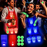 Six Senses Media Light Up Beer Pong Apron Fun Game, LED Beverage Pong Cups of Beer Pong Apron for House Parties Birthdays Concerts Weddings BBQ Beach DJ Holidays