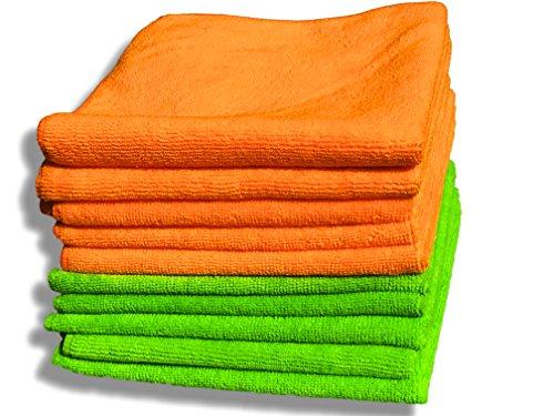 """GBW Cloths Paquete de 10 paños de microfibras Naranja y Verde Grandes 40cm x 40cm (16""""x16"""") – Felpa ultrasuave – Absorbe 5 Veces su Peso – Devolución del 100% del Dinero"""