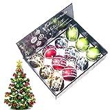 Murezima Decoración navideña 12 unids Navidad Bola Adorno Fiesta Árbol de Navidad Adornos de Navidad Rotura a Prueba de Rotos Vintage Mercury Bolas para la decoración del Party Party (c)